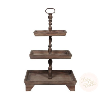 Tara 3 Tier Wooden Rustic Country Style Buffet Display Stand