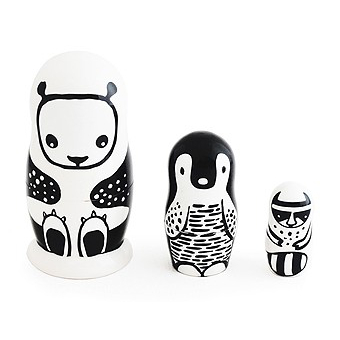 Wee Gallery Nesting Doll Black and White Animals