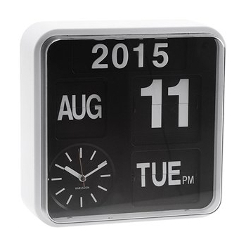 Mini Flip Wall Clip Calender Clock White