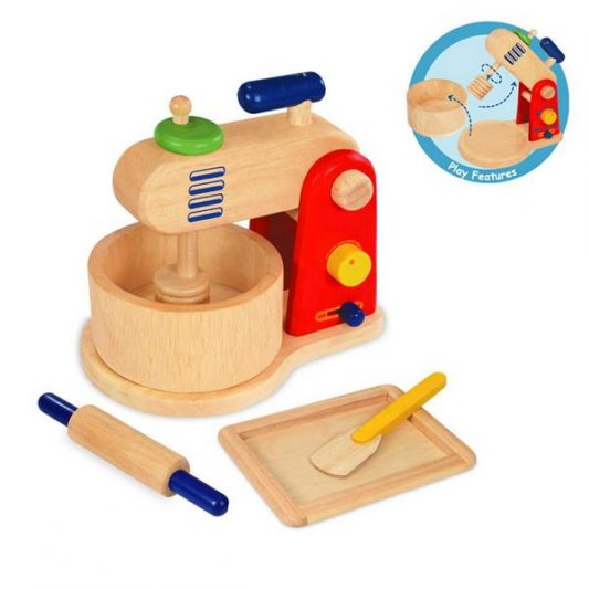WOODEN TOY FOOD MIXER AND BAKING SET