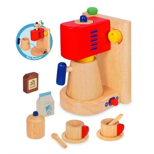 wooden toy coffee maker set