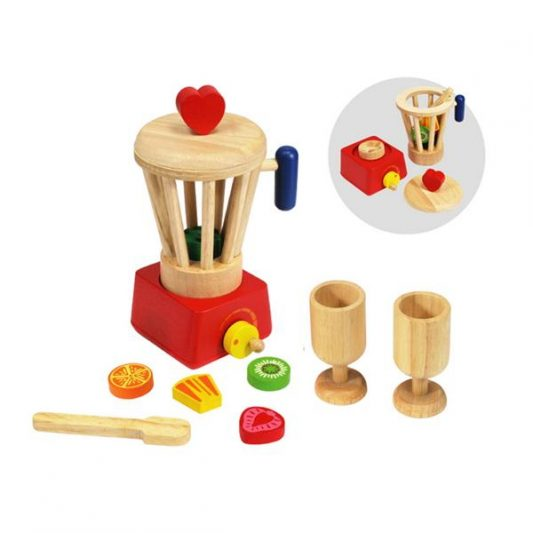 wooden toy food blender set