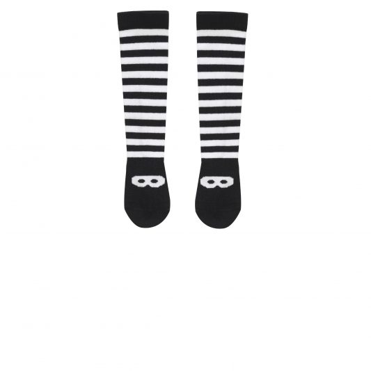 Knee High Knitted Socks, Black&White, Stripes & Mask