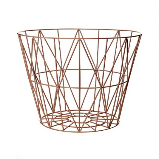 ferm living wire basket rose large leo bella. Black Bedroom Furniture Sets. Home Design Ideas