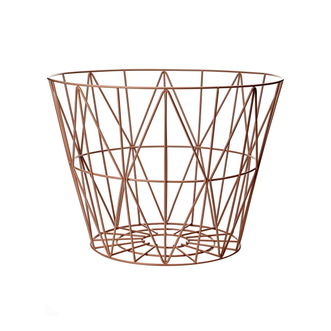 leo bella ferm living wire basket rose medium. Black Bedroom Furniture Sets. Home Design Ideas