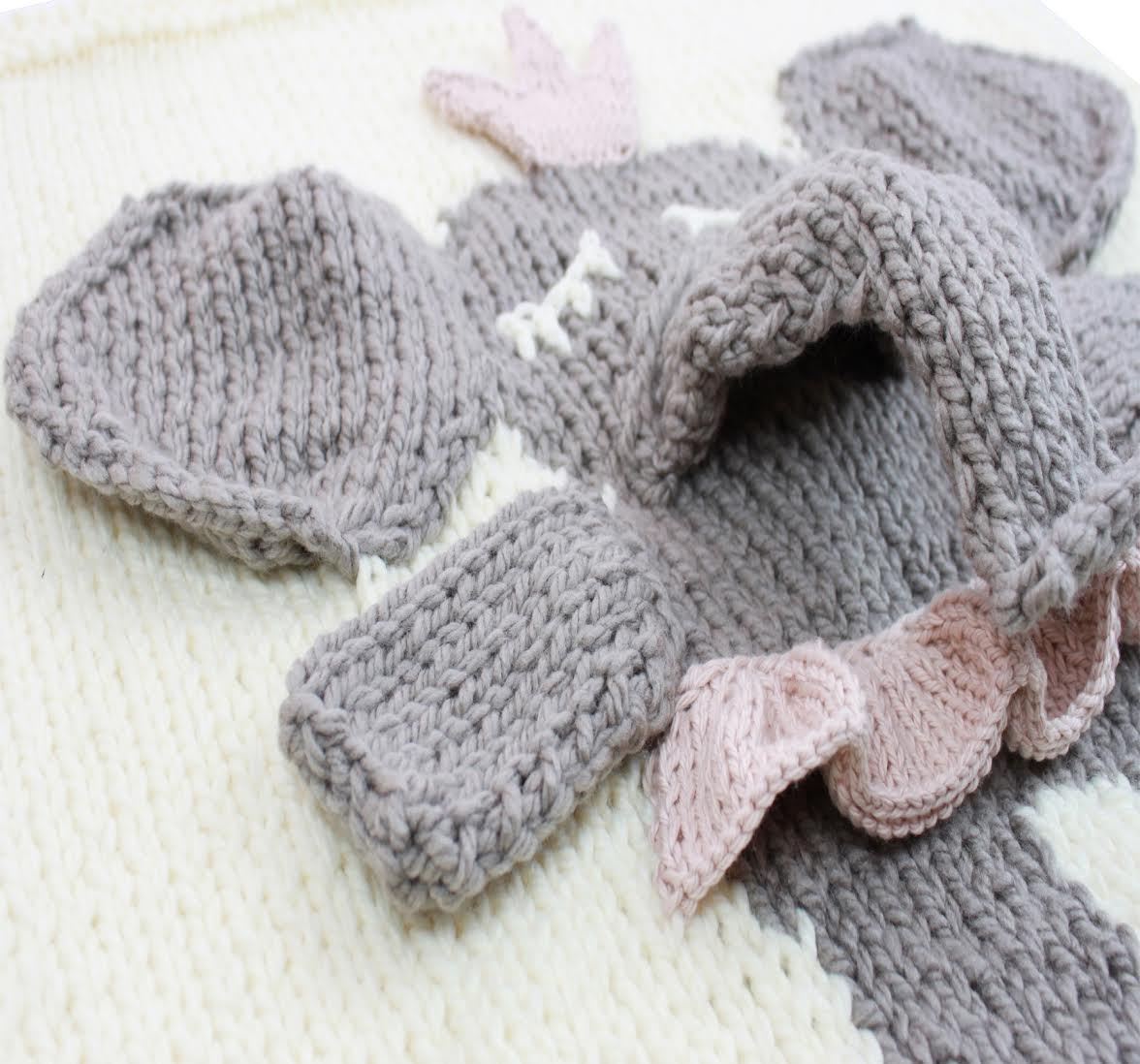 Leo Amp Bella Appi Studio Knitted Baby Blanket Elephant Cream