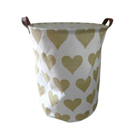 Storage-Basket-Canvas-Gold-Hearts