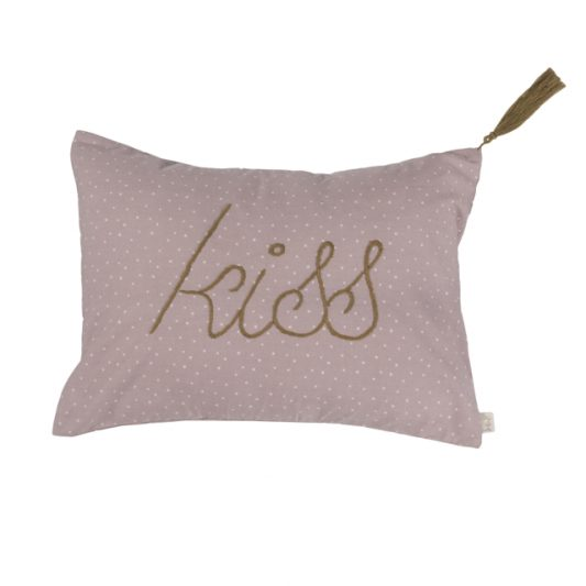 Cushion Cover Message Popeline Cotton 30x40 cm Kiss Low Def