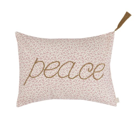 Cushion Cover Message Popeline Cotton 30x40 cm Peace Low Def