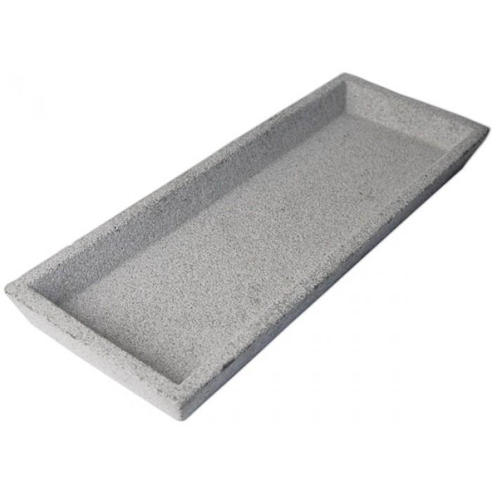 Leo bella zakkia concrete long rectangular tray natural for Long rectangular candle tray
