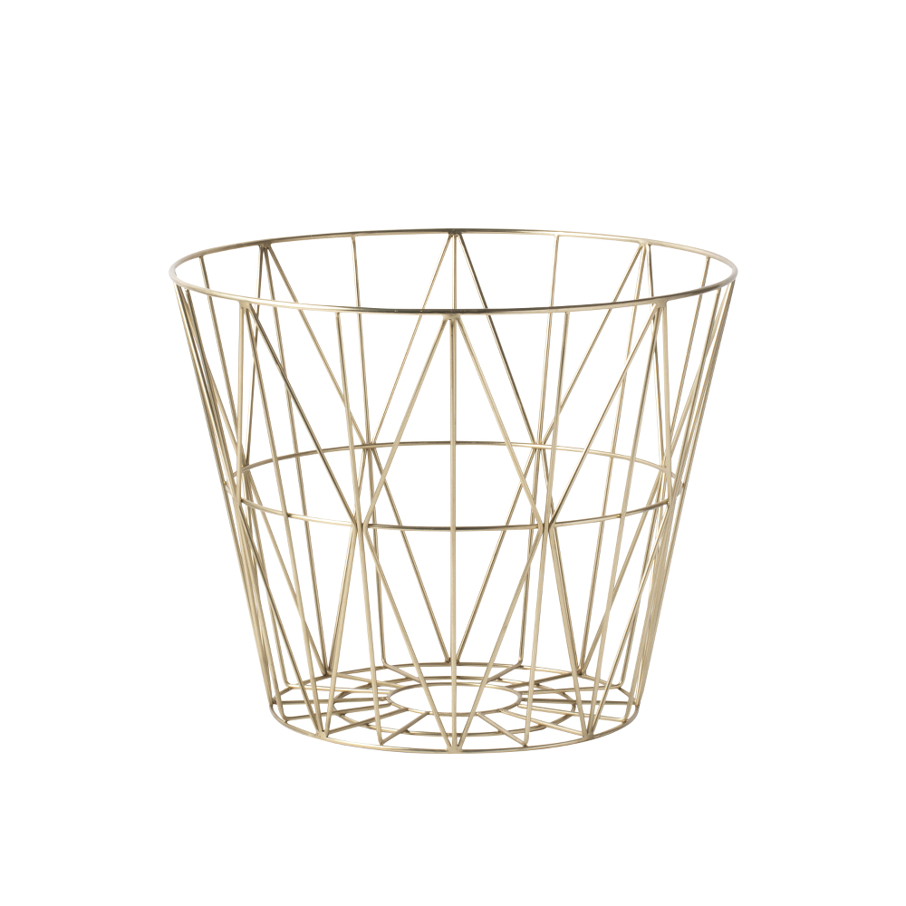 leo bella shop ferm living wire basket brass medium. Black Bedroom Furniture Sets. Home Design Ideas