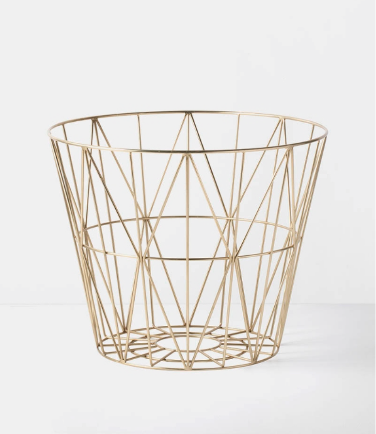 leo bella ferm living wire basket brass medium. Black Bedroom Furniture Sets. Home Design Ideas