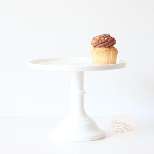 Leo & Bella - Mosser Milk Glass Cake Stand White 22cm 9inch