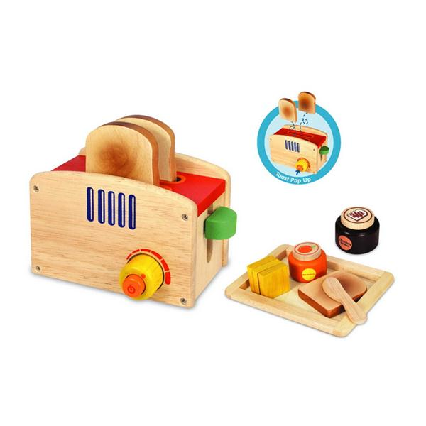 I M Toy Wooden Pop Up Toaster Set Leo Amp Bella