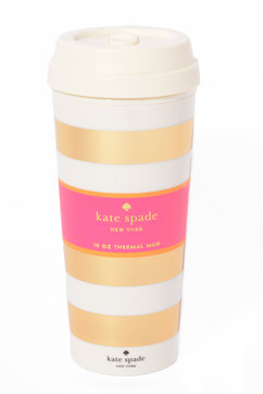 Leo Amp Bella Kate Spade Travel Thermal Mug Gold Stripe