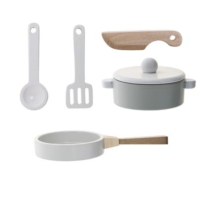 Bloomingville Mini Play Set Wooden Kitchen Utensil Pot Pan White Natural