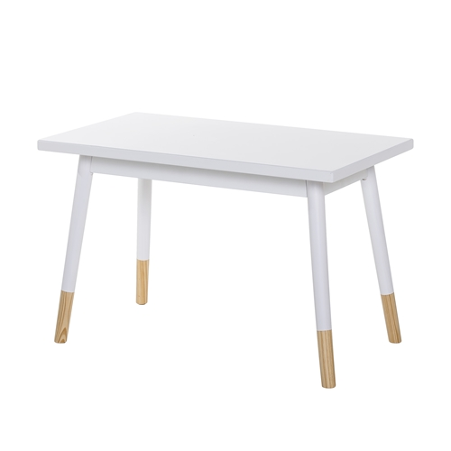 Bloomingville Mini Kids Rectangle Table Matte White With Natural Dip Legs