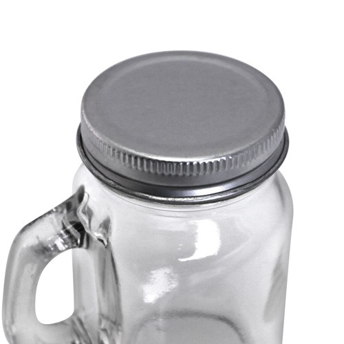 Mason Jar Square Glass With Handles Drinking Mug With Lid