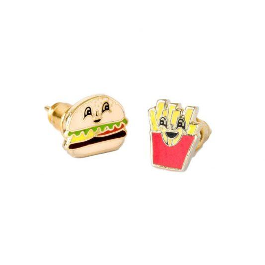 Leo Bella Yellow Owl Workshop Earrings Burger Fries